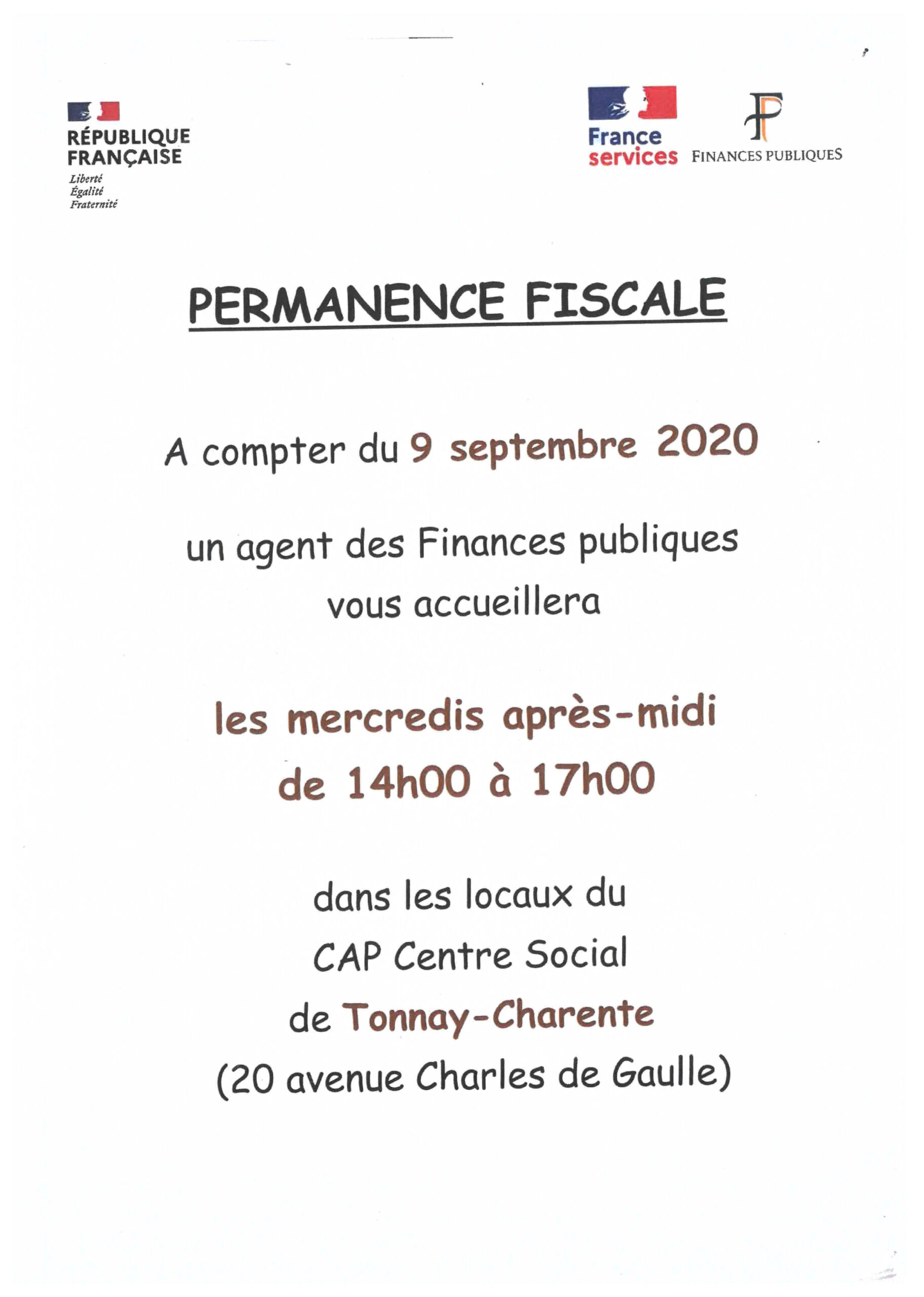 Permanence Fiscale Tonnay-Charente