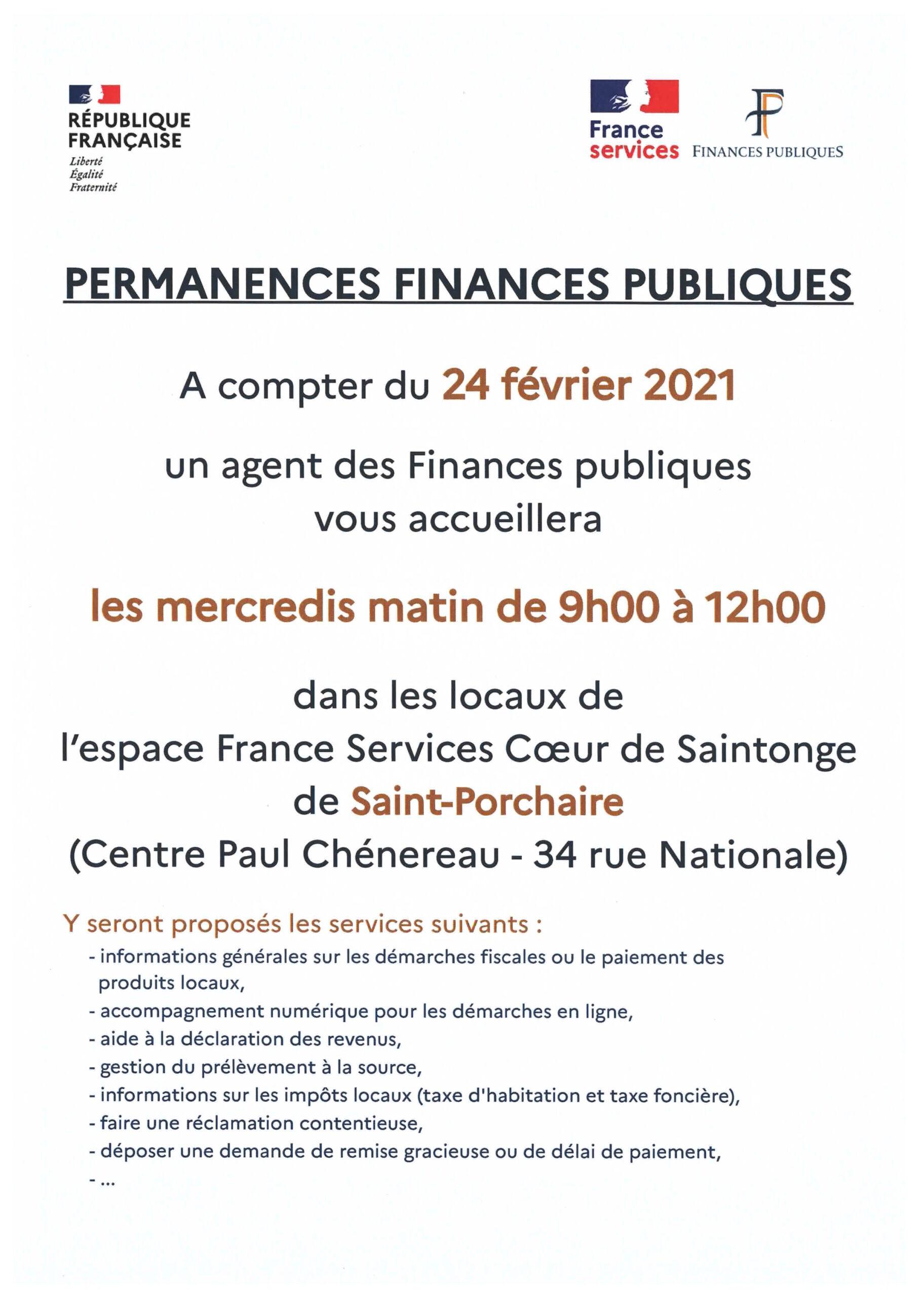 Permanences Finances Publiques - Saint-Porchaire